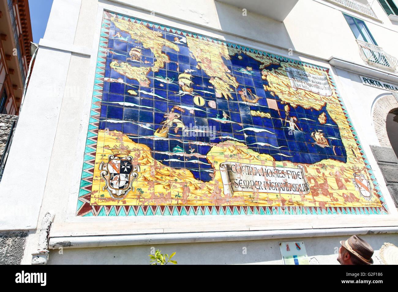 Old map of Amalfi made from ceramic tiles Amalfi Coast Italy Europe ...