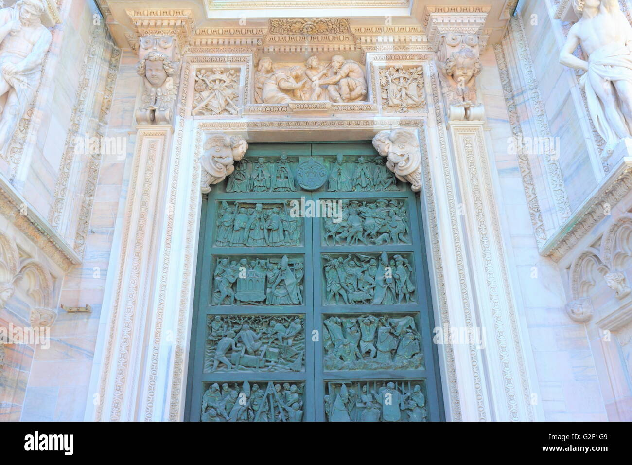 Doors of a Milan Cathedral, Italy - Stock Image