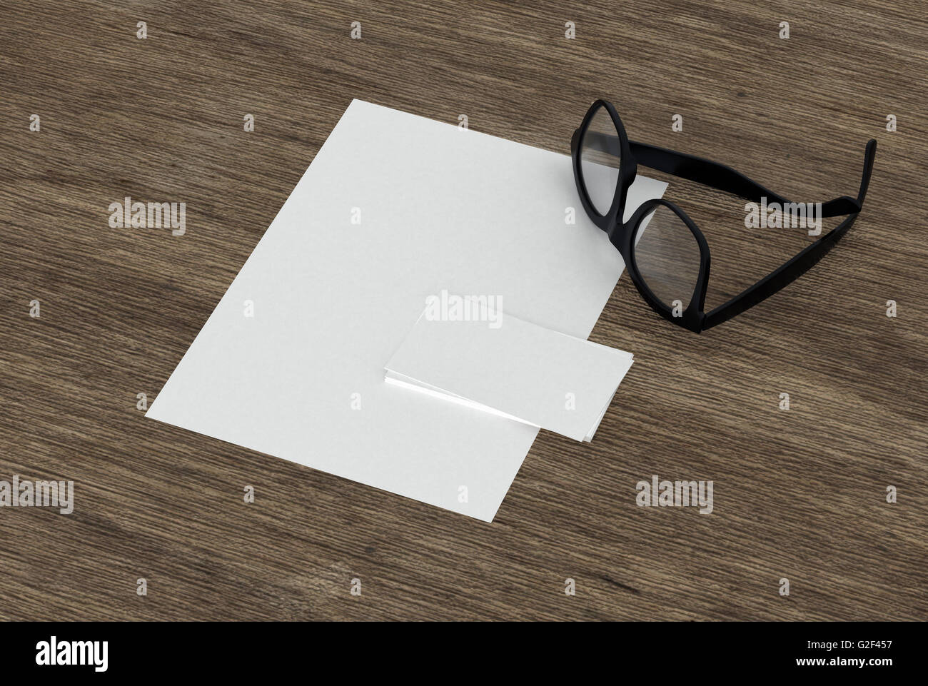 Blank business card, paper and eyeglasses lying together on a wooden ...