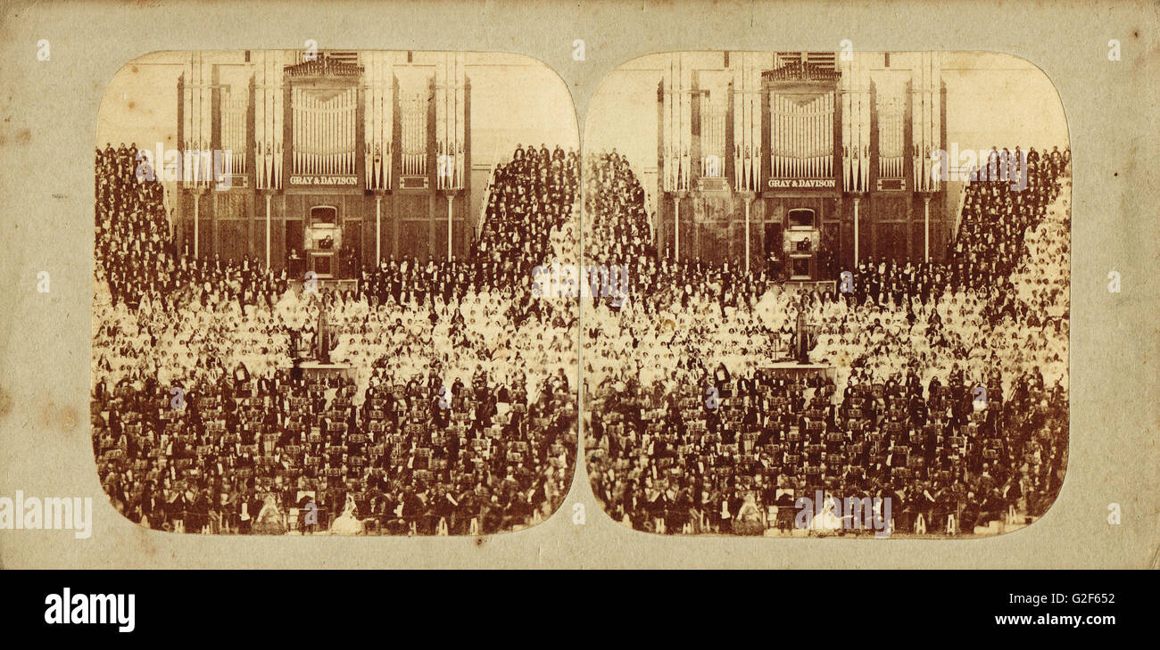 Stereoscopic photograph of the Full Orchestra at the Great Handel Festival of 1857 at Crystal Palace, June 1857 - Stock Image