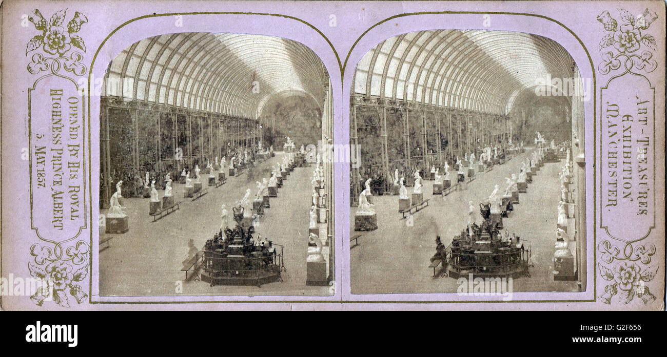 Stereoscopic photograph of The Manchester  Art Treasures Exhibition  of 1857 - Stock Image