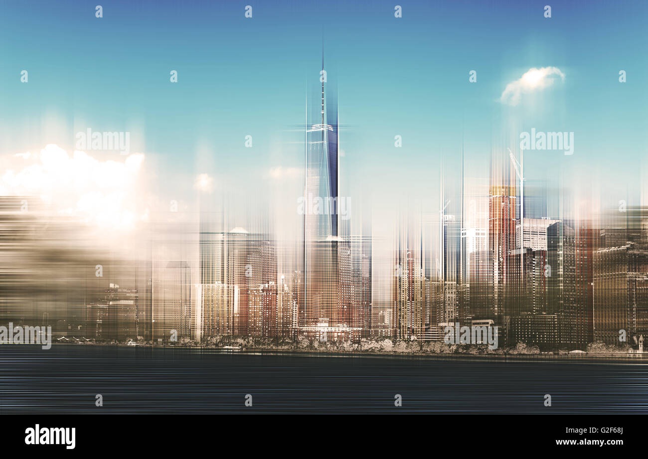 Blurred View of New York City Manhattan Skyscrapers Skyline on Bright, Sunny Day - Concept Image of Fast Paced City - Stock Image