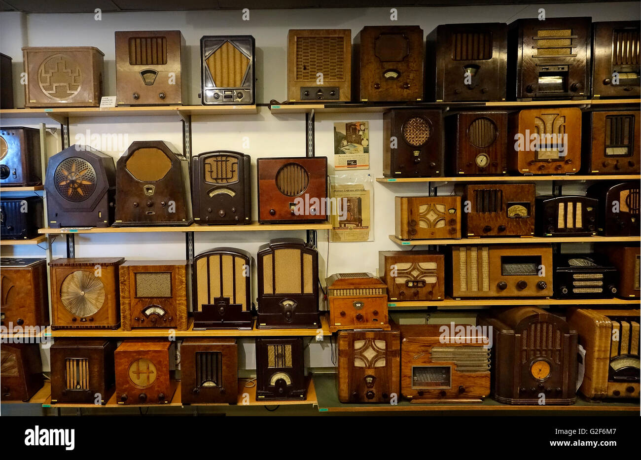 Collection of radio receivers from early 30es. - Stock Image