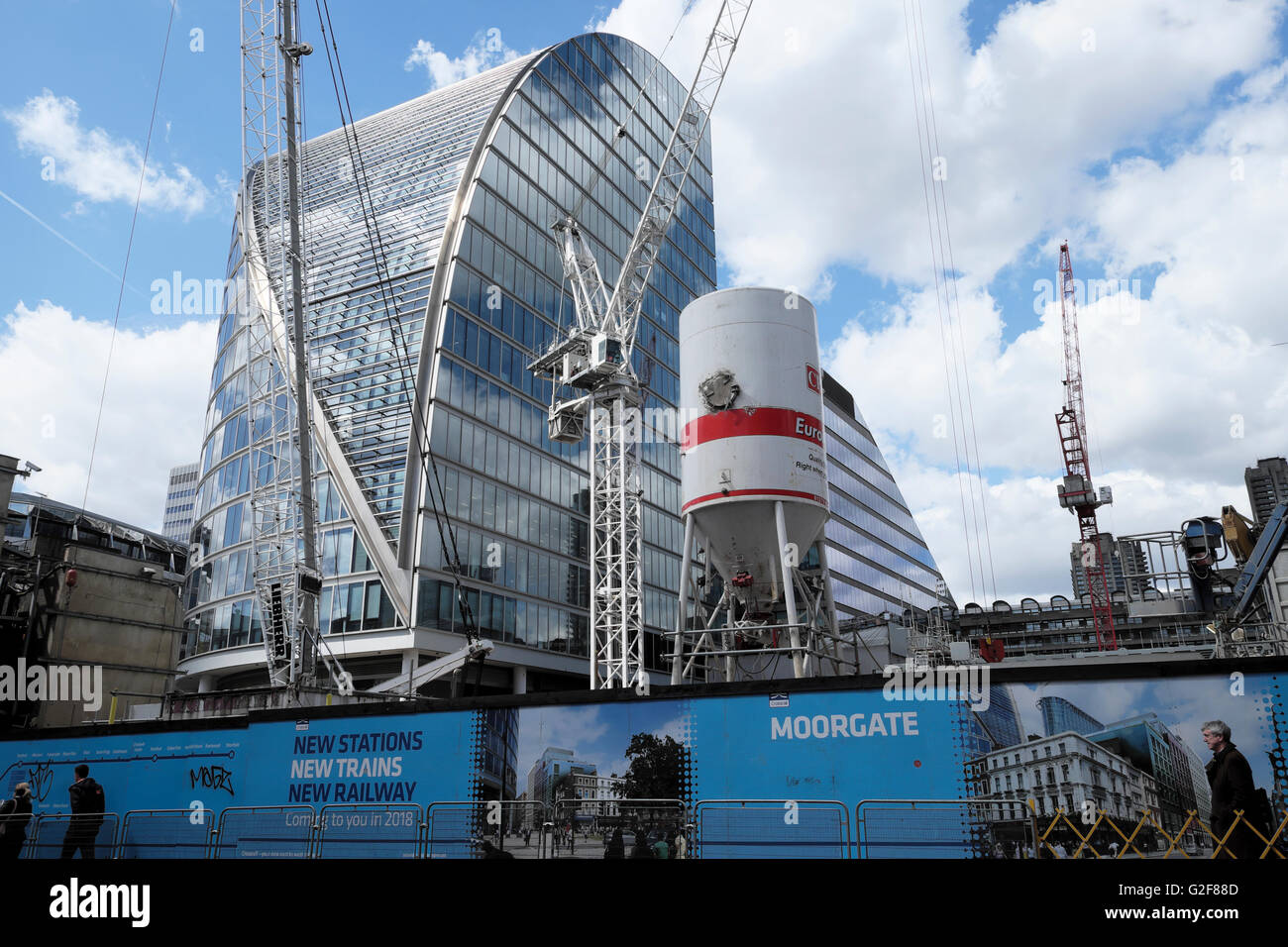Crossrail construction at Moorgate in London UK  KATHY DEWITT - Stock Image