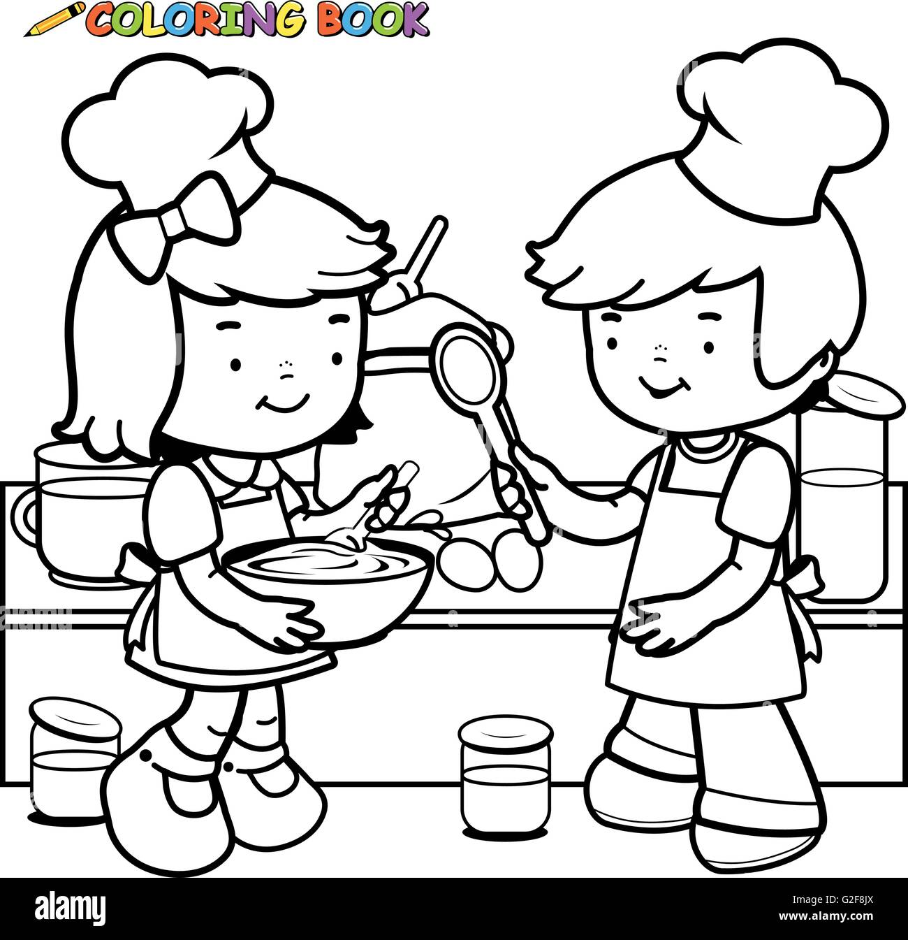 Children Cooking Coloring Book Page Stock Vector Art Illustration
