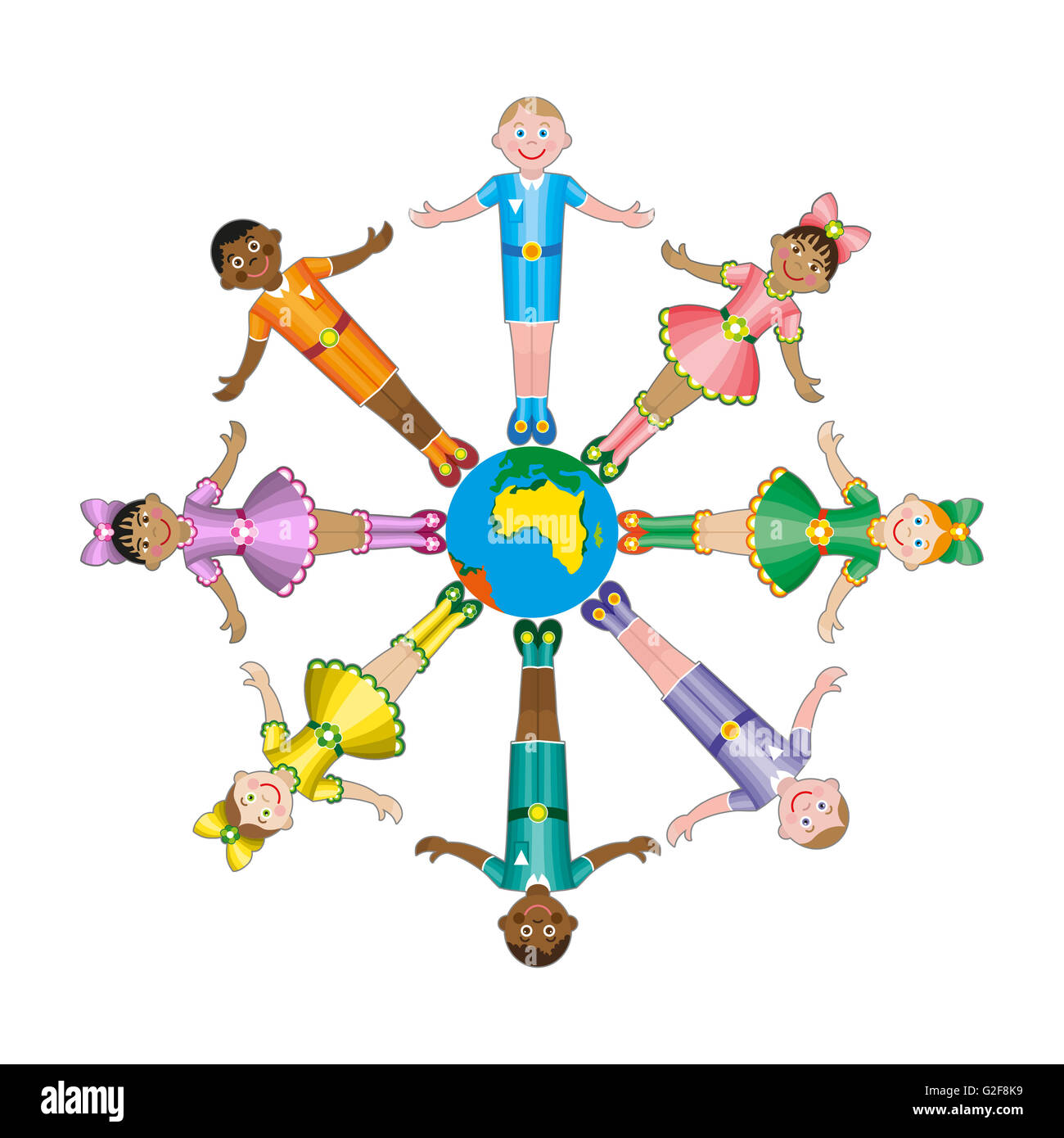 Circle of happy children different races - Stock Image