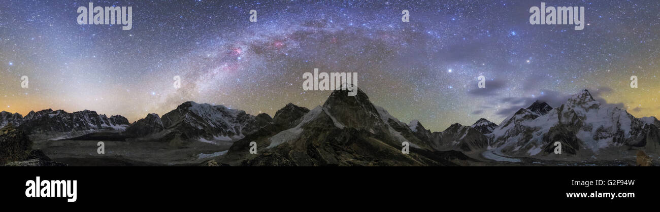 Panoramic view of Mt. Everest, Khumbu glacier, Nuptse and Pumori mountains in Nepal.  The scene was photographed - Stock Image