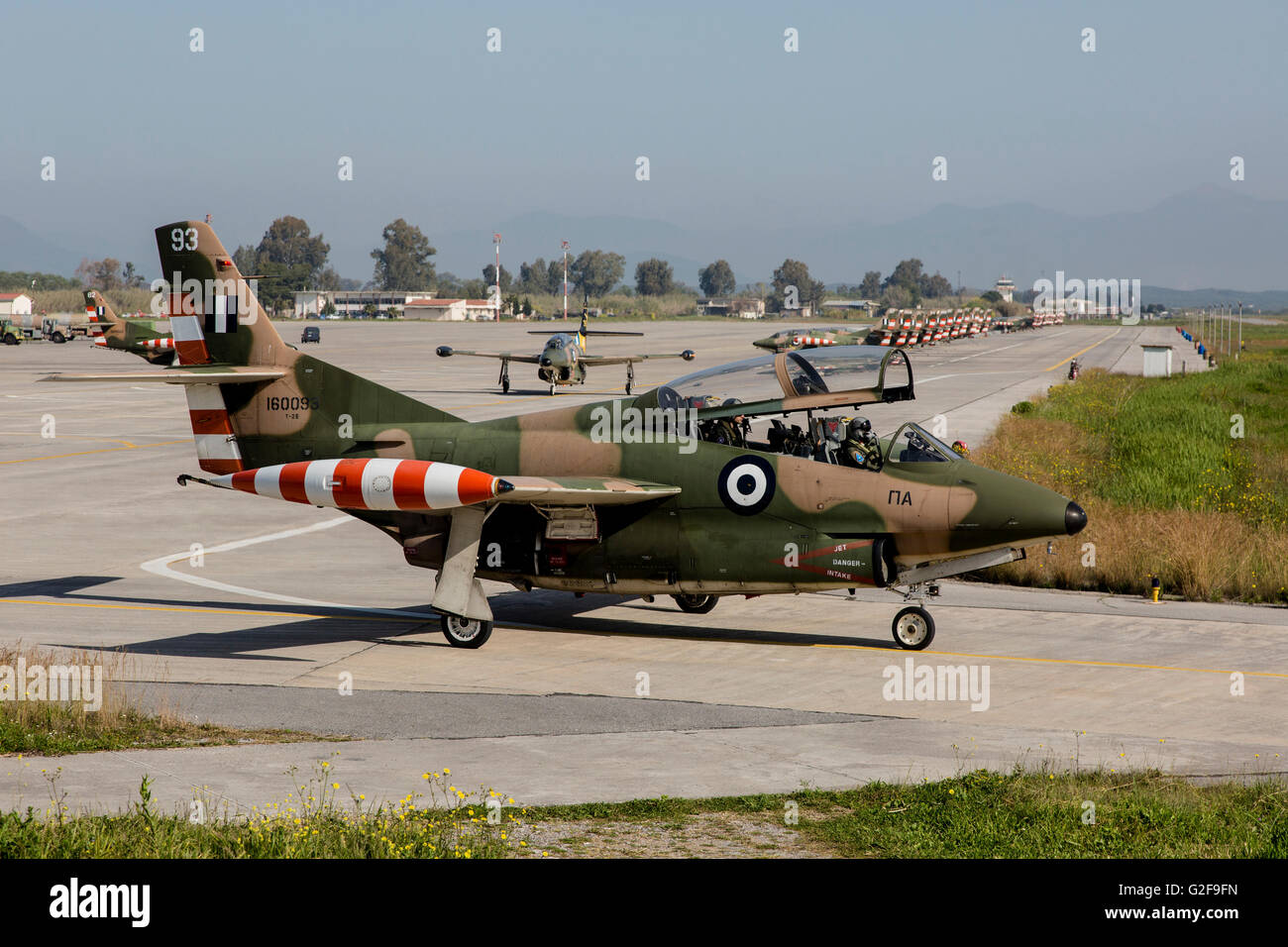 A Hellenic Air Force T-2 Buckeye trainer plane, Kalamata, Greece. Greece being the only counry that still uses them. - Stock Image