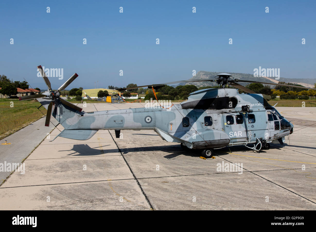 A Hellenic Air Force Eurocopter Super Puma search and rescue helicopter e6d6c081297
