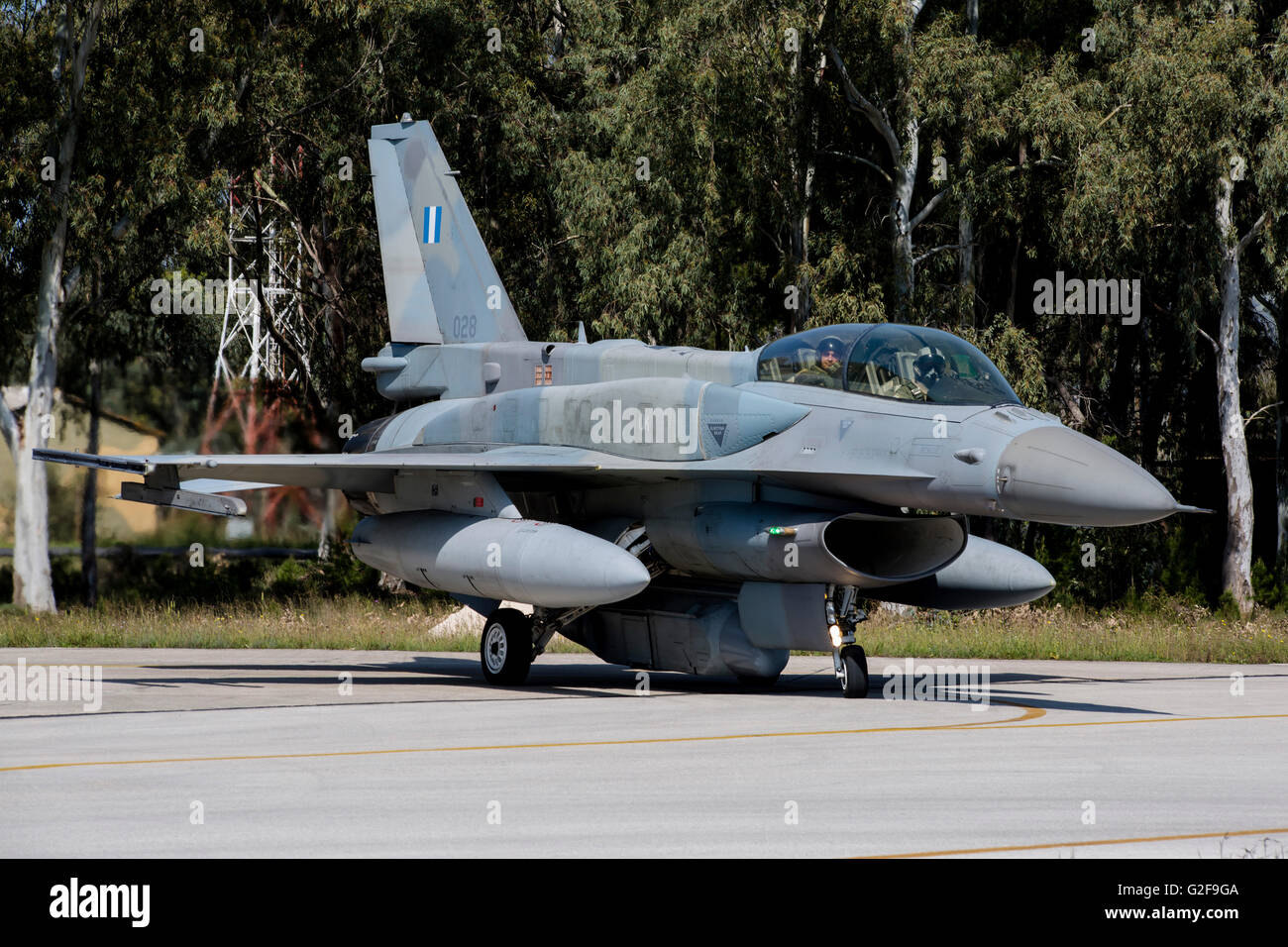 Hellenic Air Force F-16D Block 52+ with a DB-110 reconnaissance pod, Araxos, Greece. - Stock Image