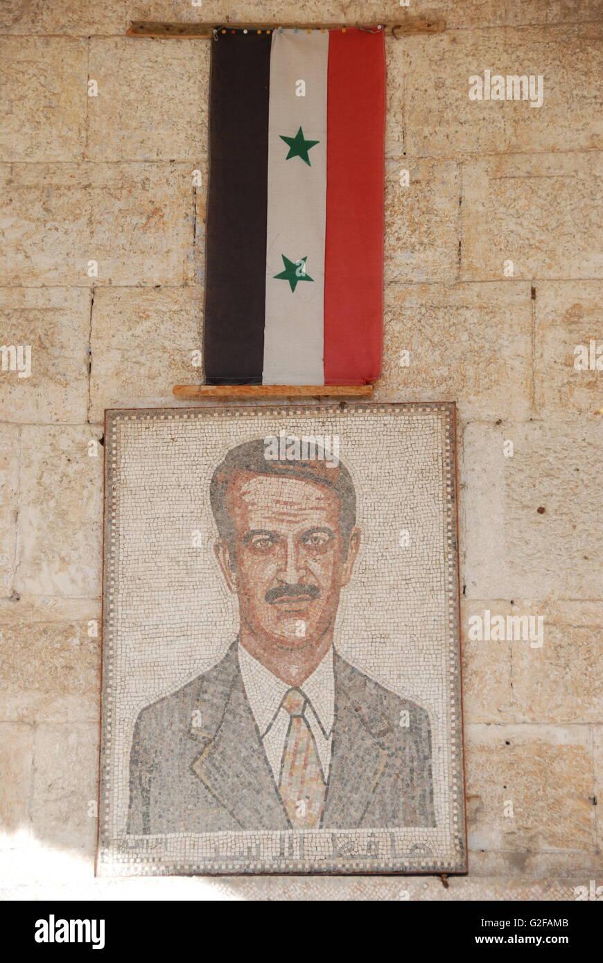 Al-Ma'ara - Mosaics Museum, Mosaic Portrait Of President Hafez al-Assad With Syrian Flag - Stock Image
