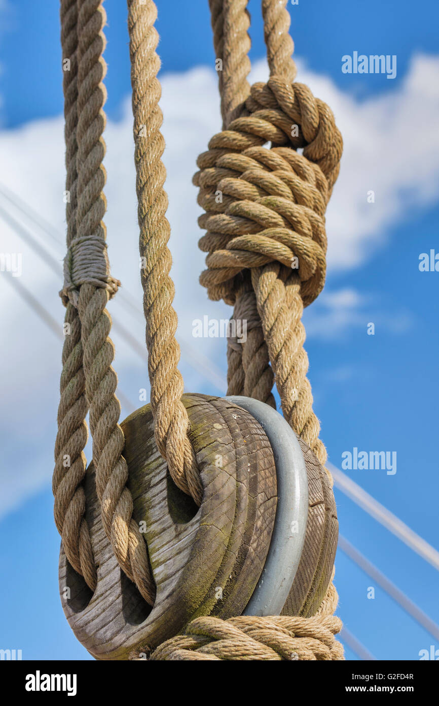 Blocks and tackles on a sailing vessel - Stock Image