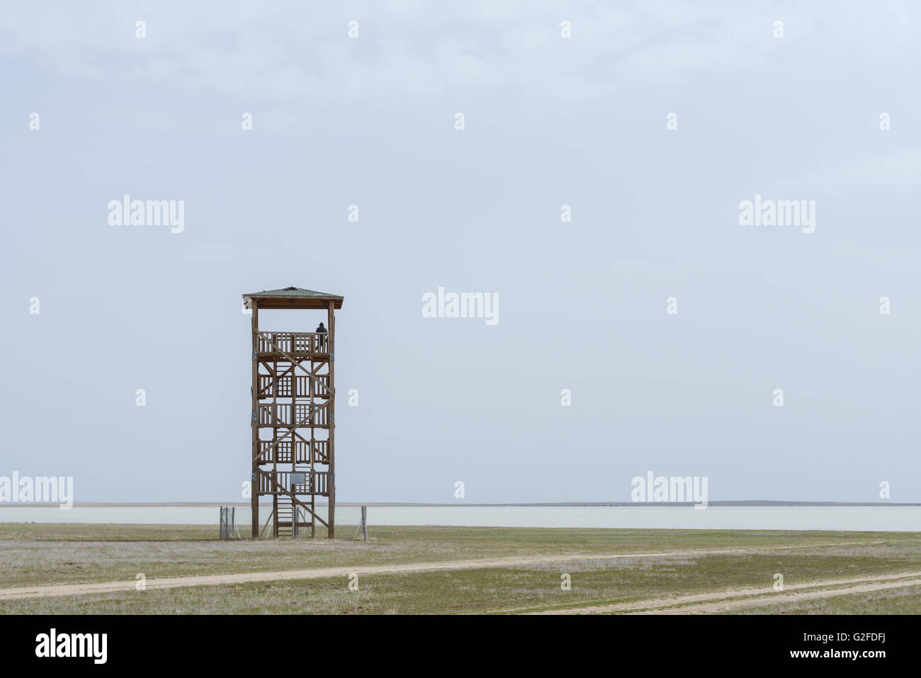 Alone observant tower and silhouette of man - Stock Image