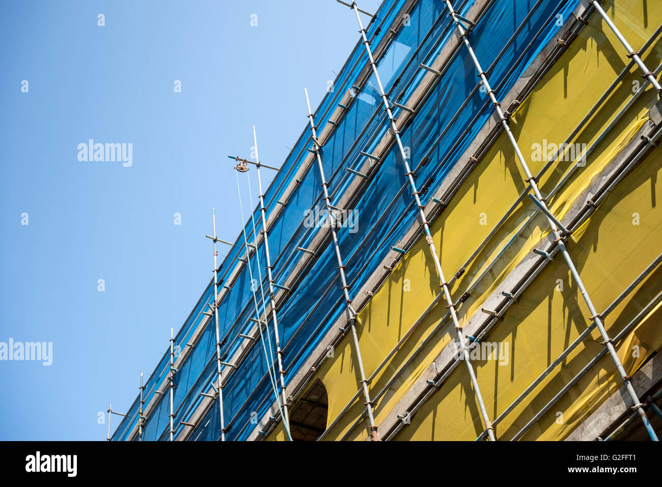 building renovation with scaffolding - Stock Image