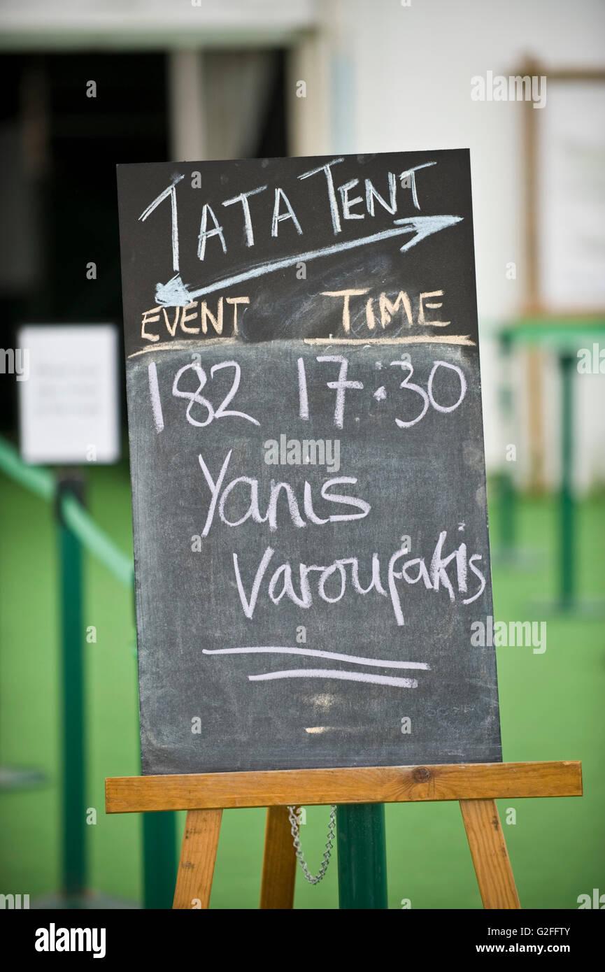 Yanis Varoufakis former finance minister of Greece sign outside Tata Tent at Hay Festival 2016 & Yanis Varoufakis former finance minister of Greece sign outside Tata ...