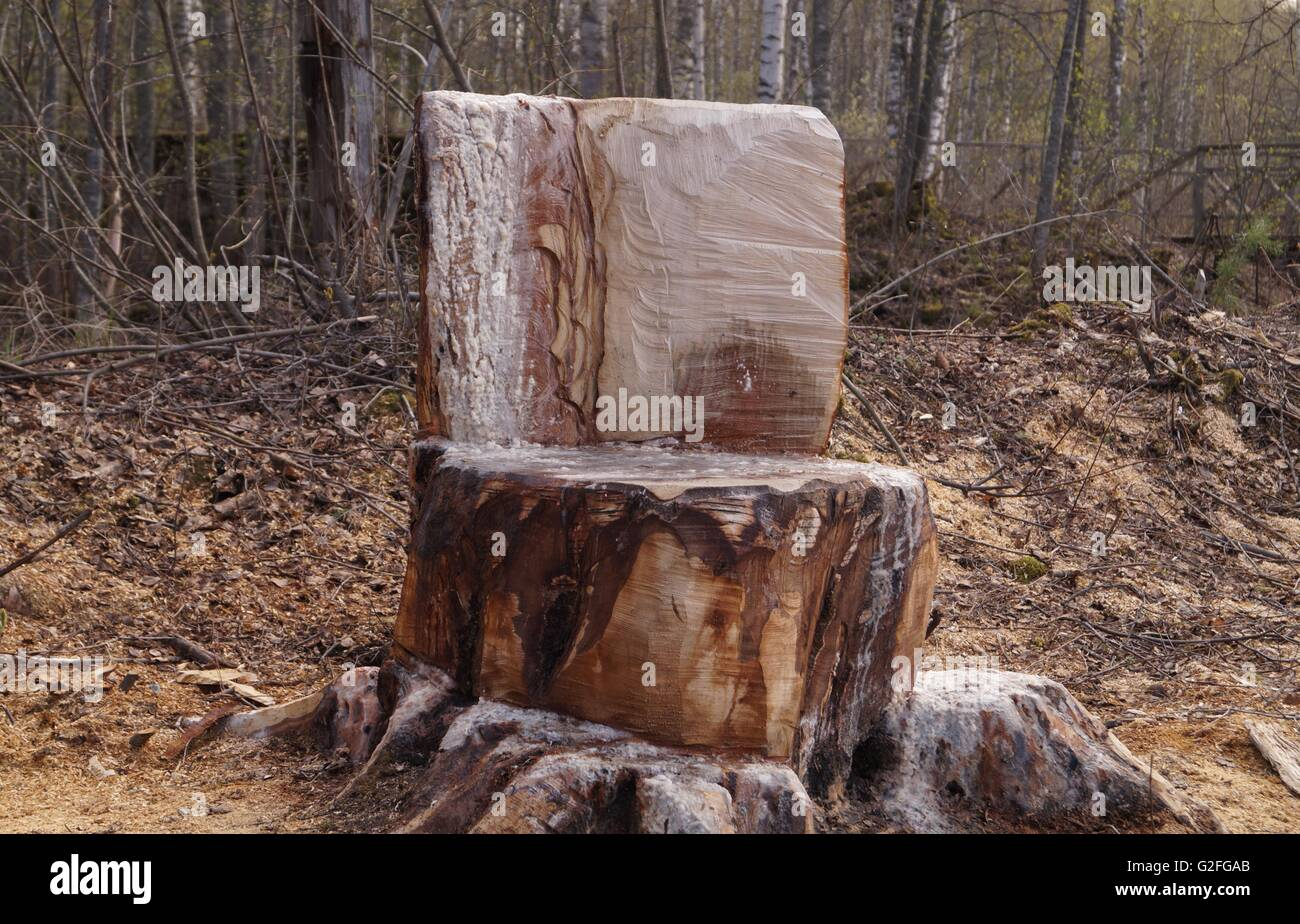 Stump Chair In The Forest   Stock Image