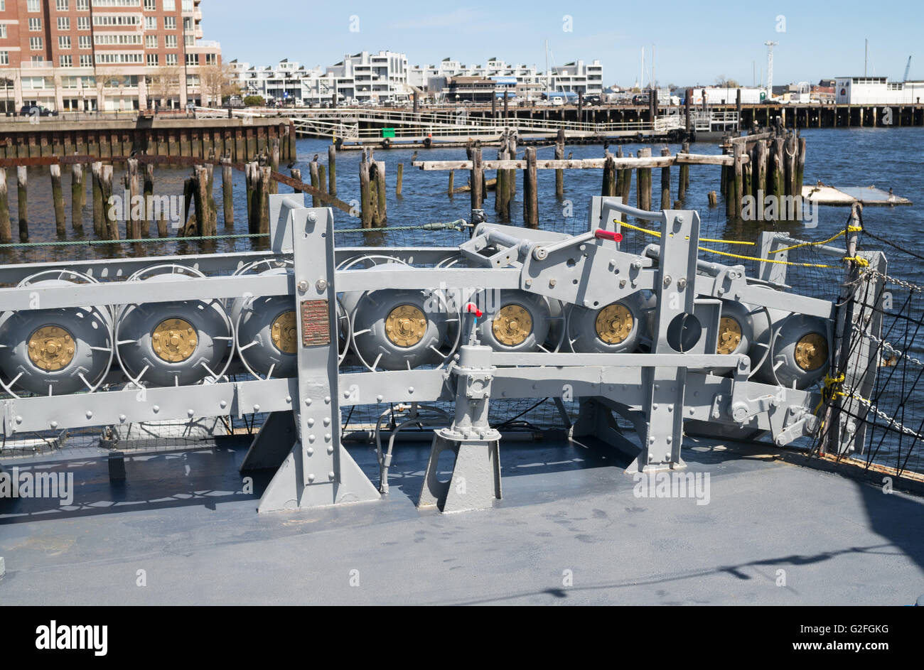 Depth charges mounted at the stern of USS Cassin Young, Charlestown Navy Yard, Boston, Massachusetts, USA - Stock Image