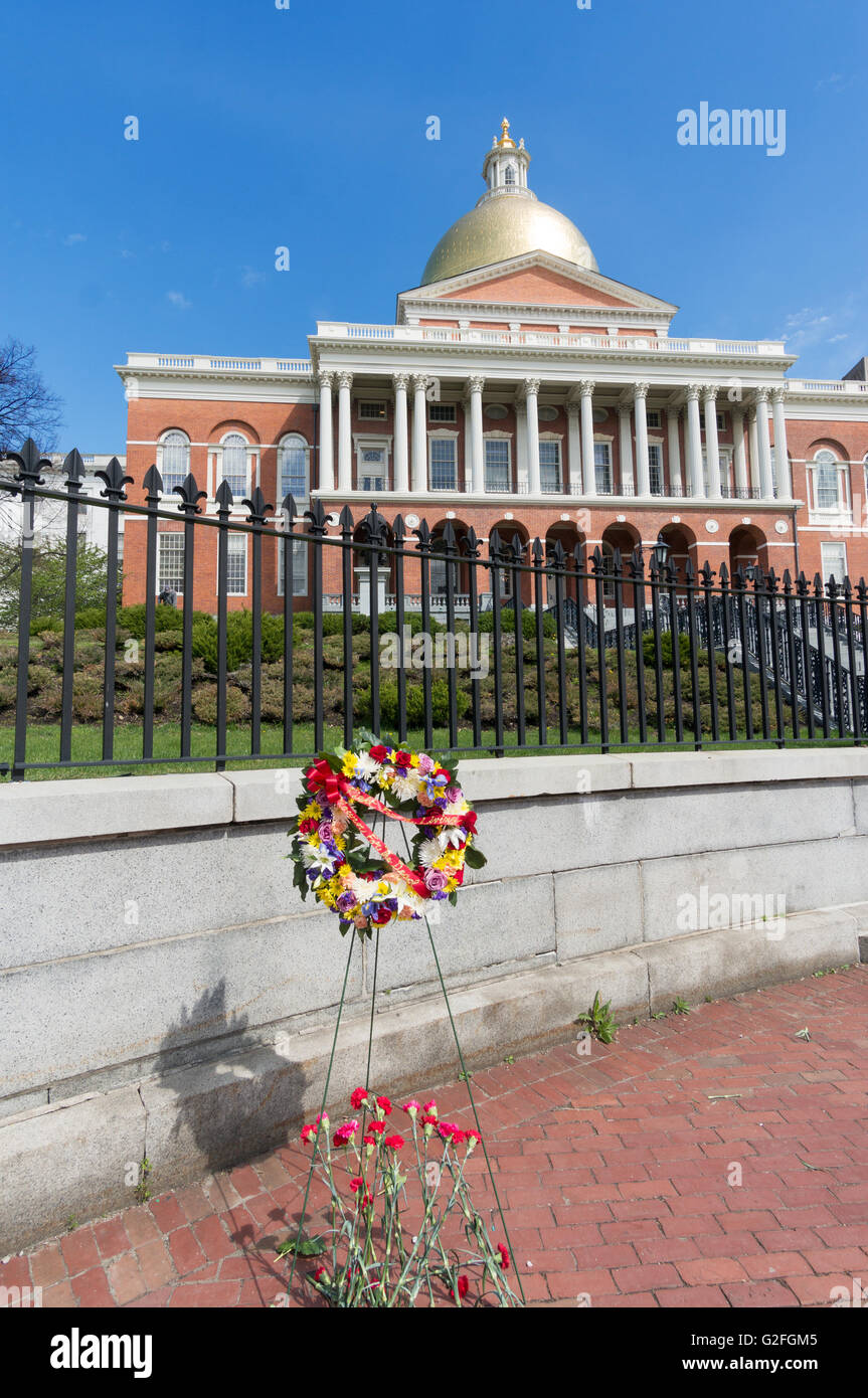 Wreath commemorating United States Workers' Memorial Day,  Massachusetts State House, Boston, Massachusetts, - Stock Image