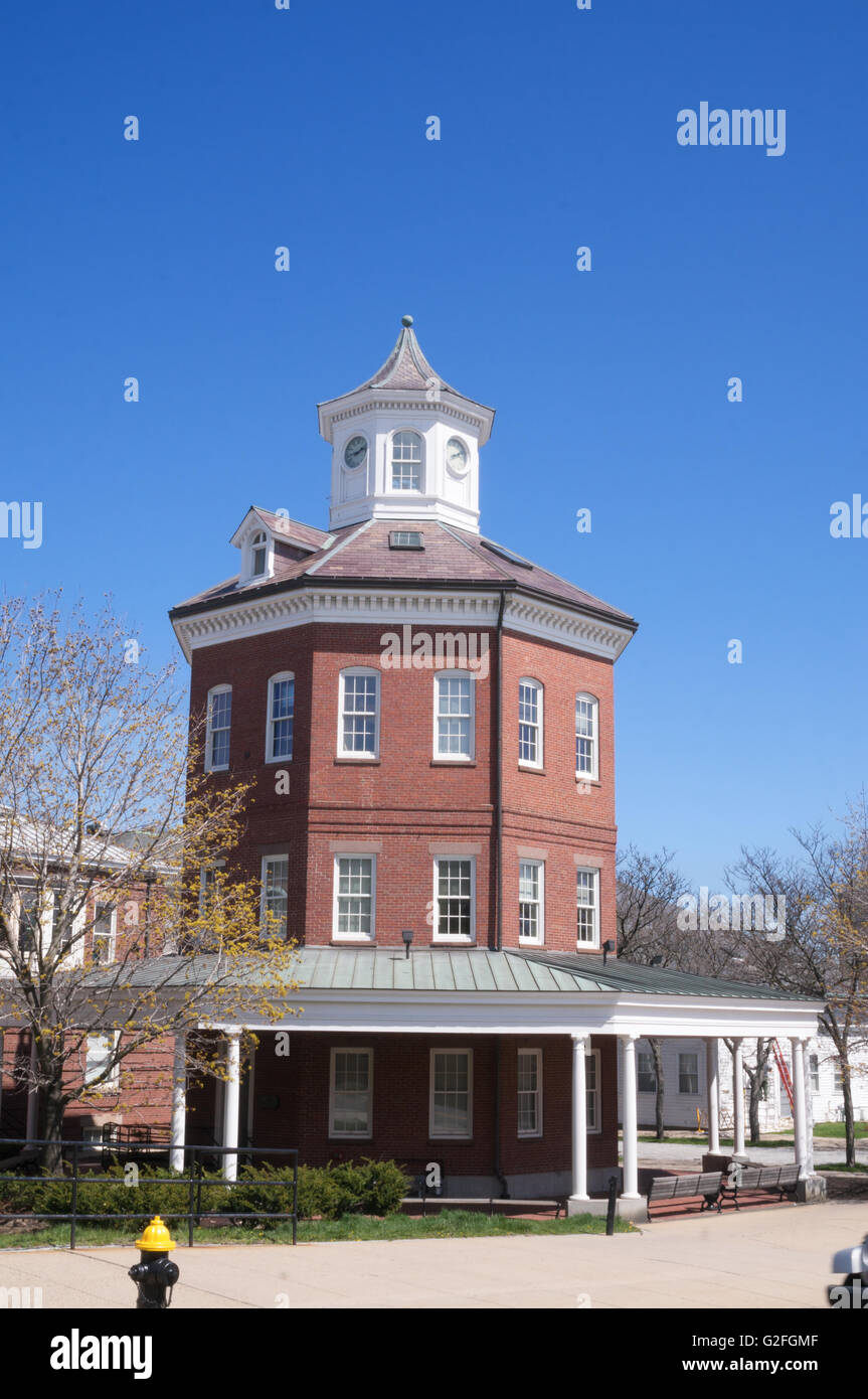 The Muster House, octagonal building, Charlestown Navy Yard, Boston, Massachusetts, USA - Stock Image