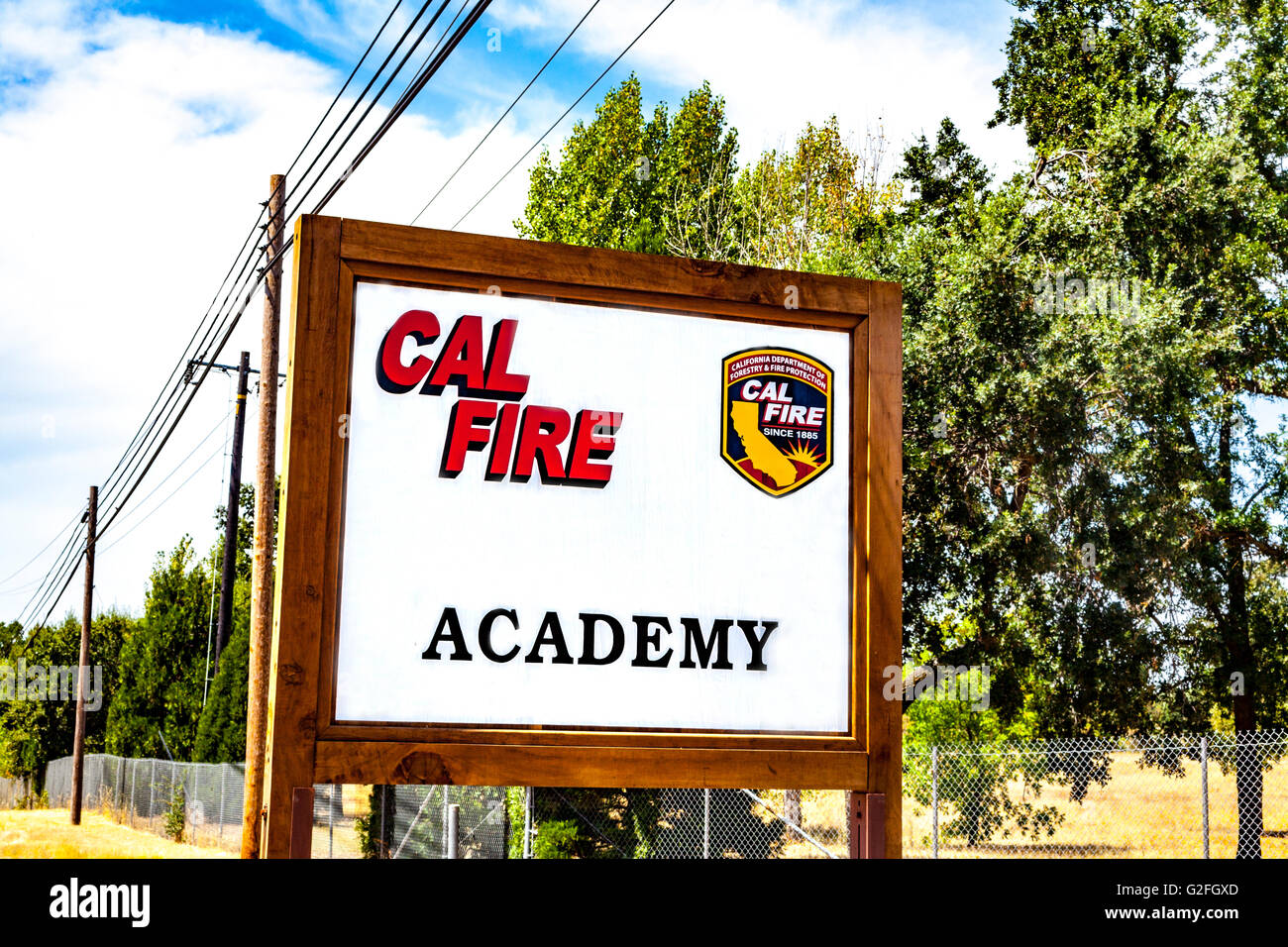 The California Department of Forestry and Fire Protection (Cal Fire) Academy in Ione California - Stock Image