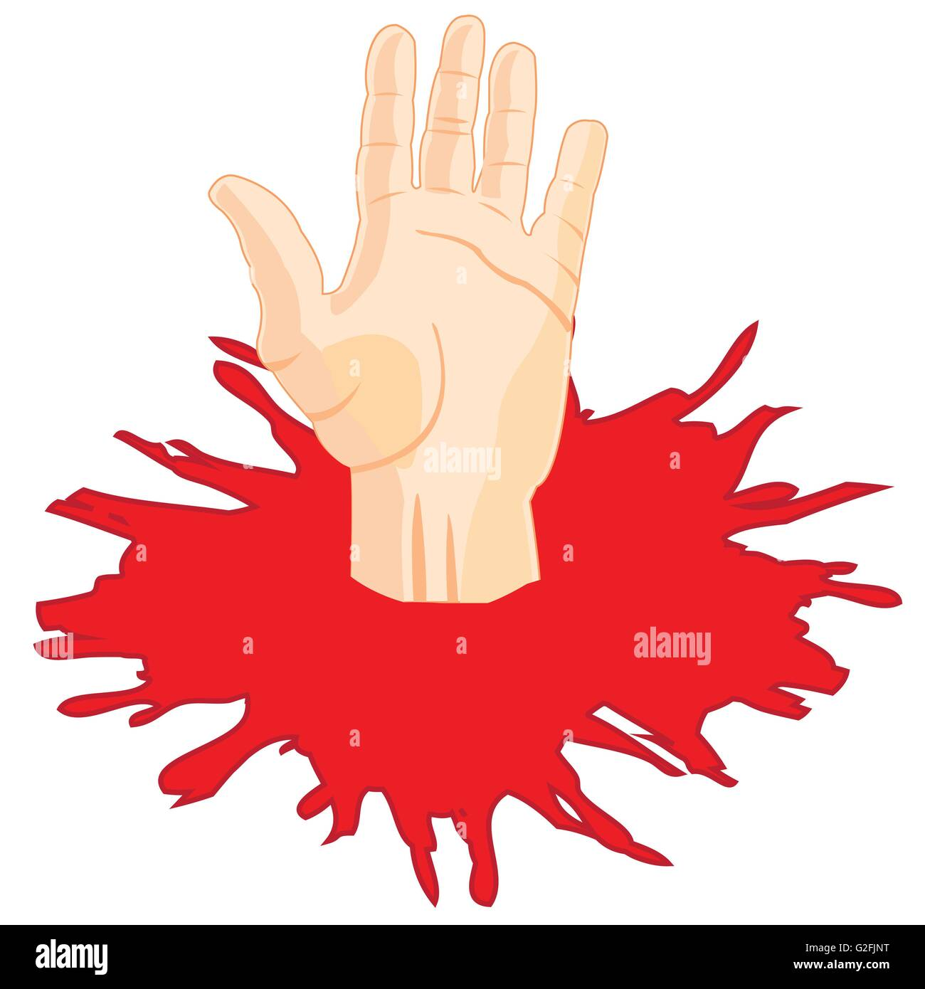 Human hand in puddle of the red liquid - Stock Vector