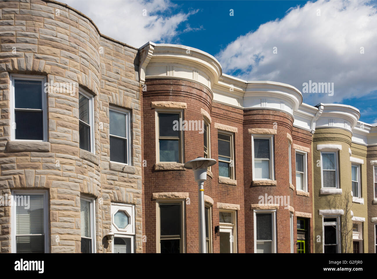 row houses historic district Baltimore Maryland - Stock Image