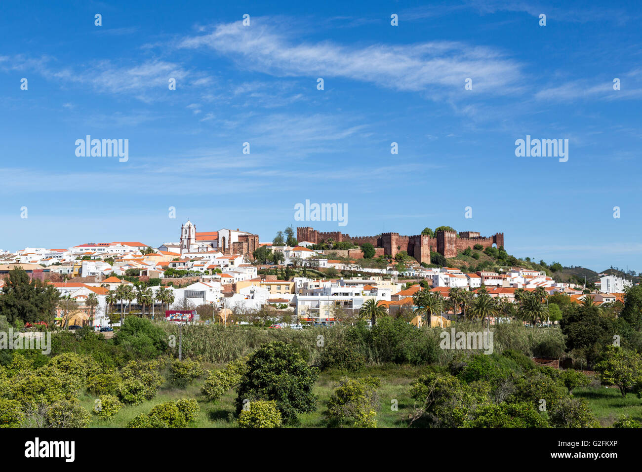 Castle and town, Silves, Algarve, Portugal Stock Photo