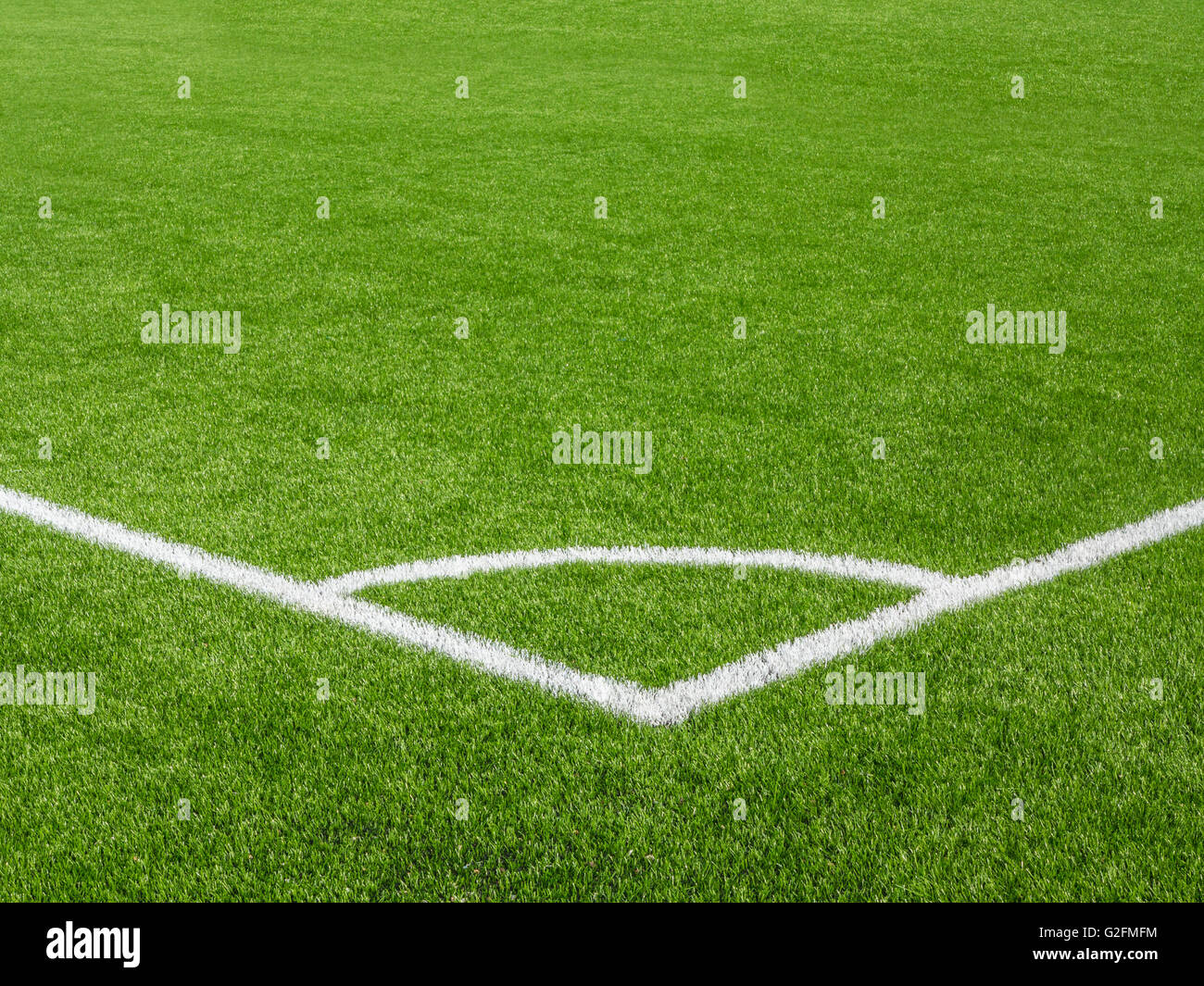 A corner of a football pitch - Stock Image