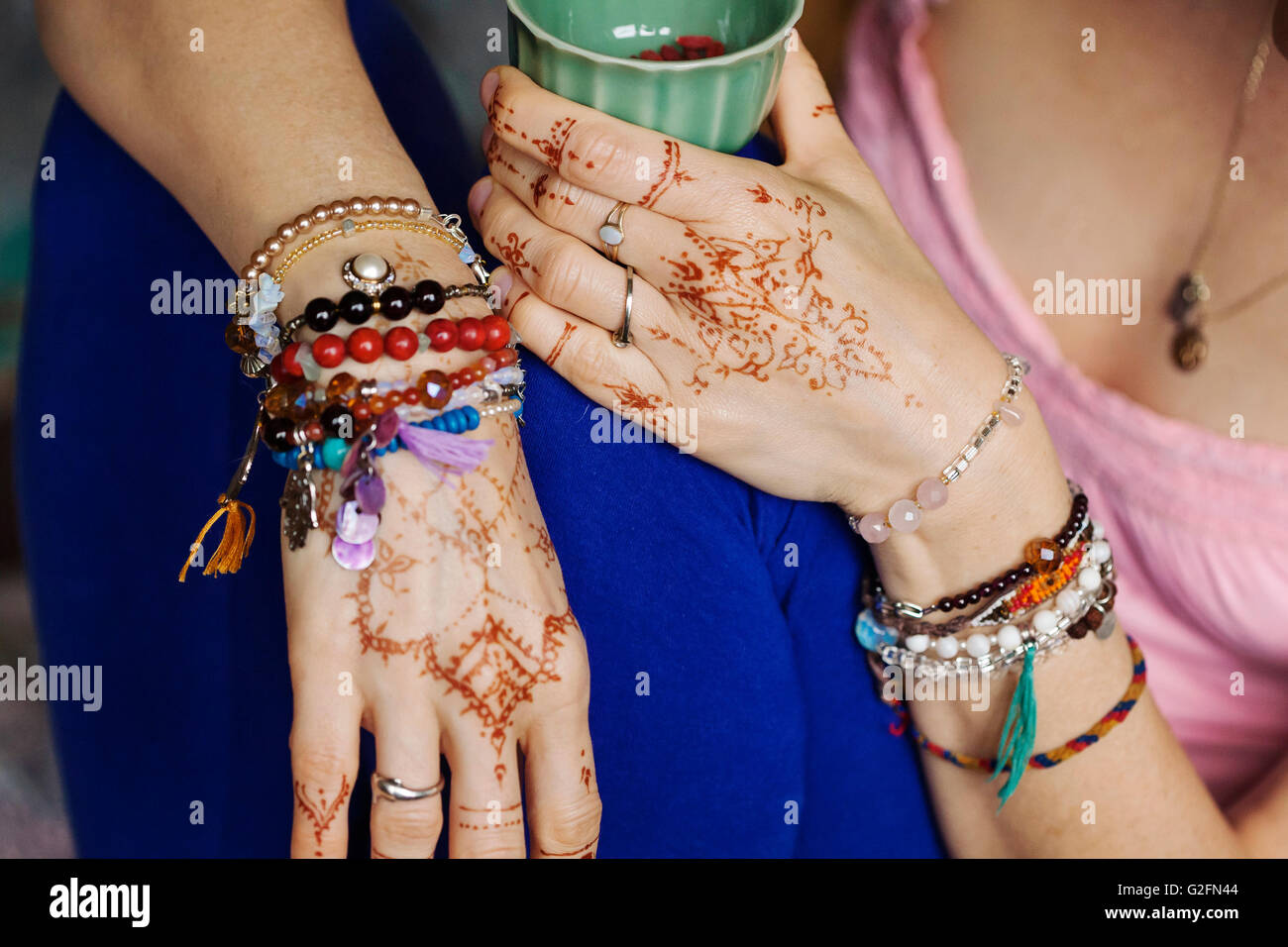Hands With Traditional Henna Painting Mehndi Stock Photo