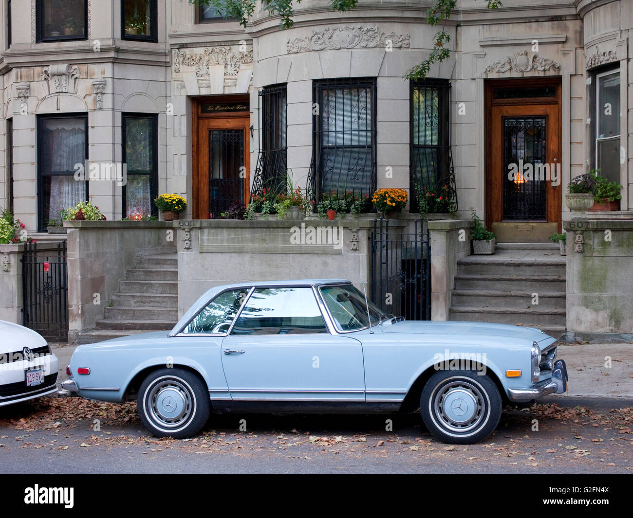 powder blue vintage mercedes parked on Brooklyn Street - Stock Image
