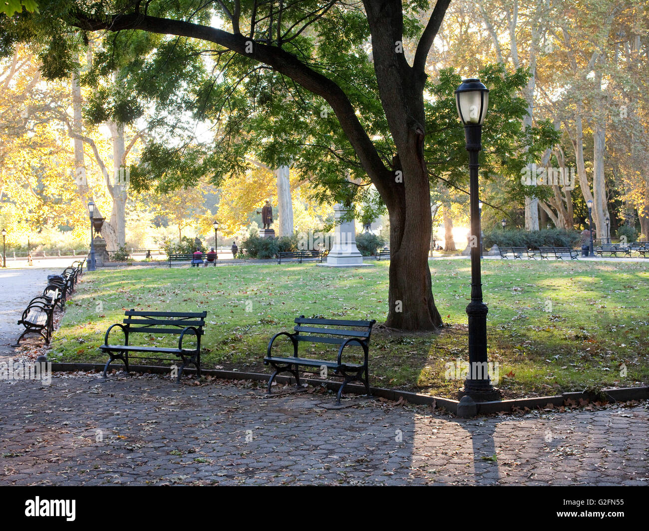 Prospect Park and benches - Stock Image