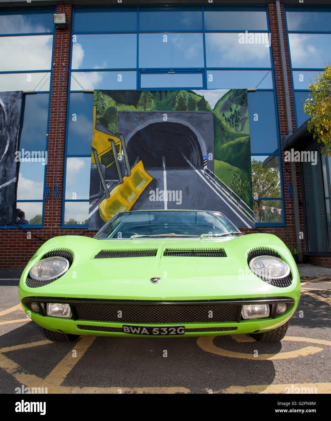 Lamborghini Miura, sports car at the Pendle Power Fest, a classic, veteran and heritage motor show held at the Nelson - Stock Image