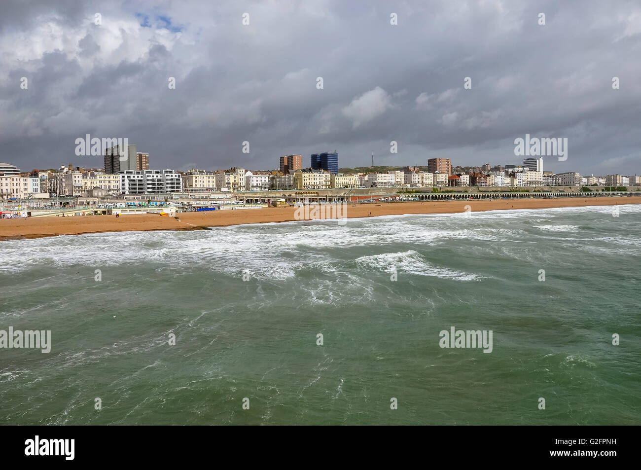 Panorama Brighton on a cloudy day, East Sussex, United Kingdom - Stock Image