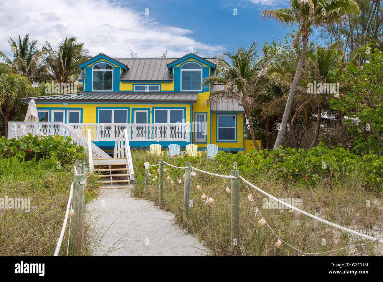 Vacation house on the beach on the Gulf of Mexico on Captiva Island Florida Stock Photo