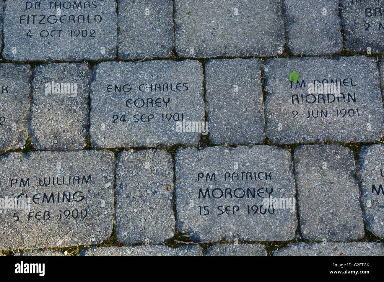 The names of fallen firefighter and EMT's adorn bricks at