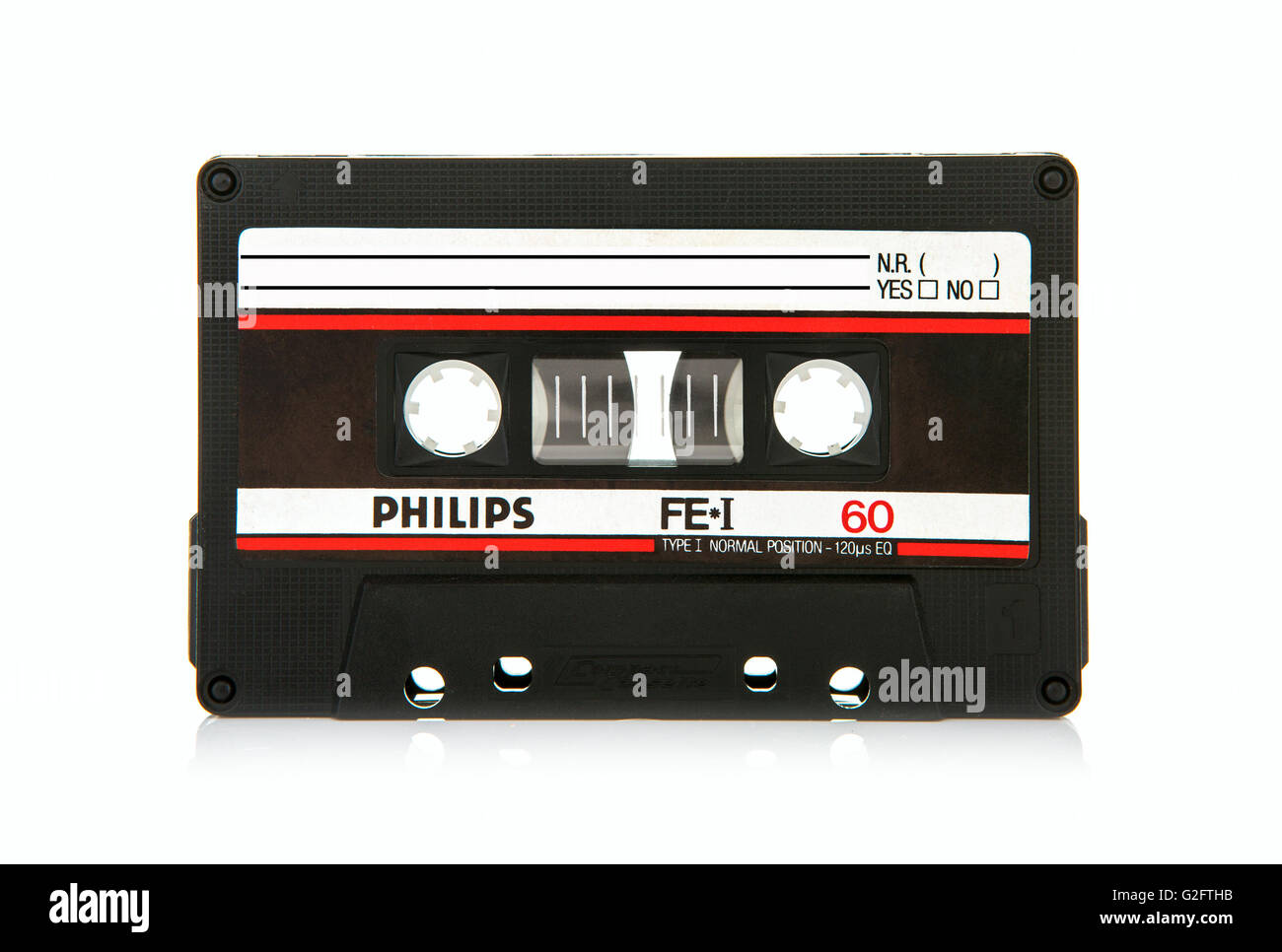 Close up of Philips FEI 60 vintage compact cassette audio tape - Stock Image