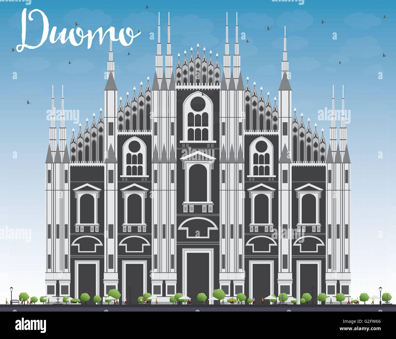 Duomo. Milan. Italy. Vector Illustration. Tourism Concept with Historic Building. Image for Presentation Banner - Stock Vector