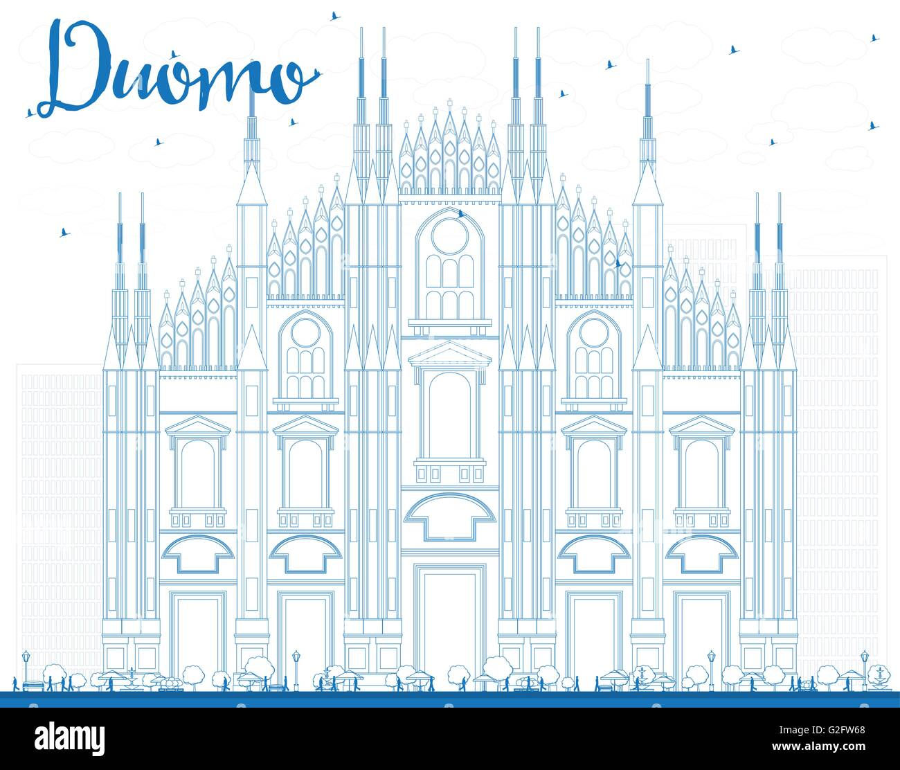 Outline Duomo in Blue Color. Milan. Italy. Vector Illustration. Tourism Concept with Historic Building. Image for - Stock Vector