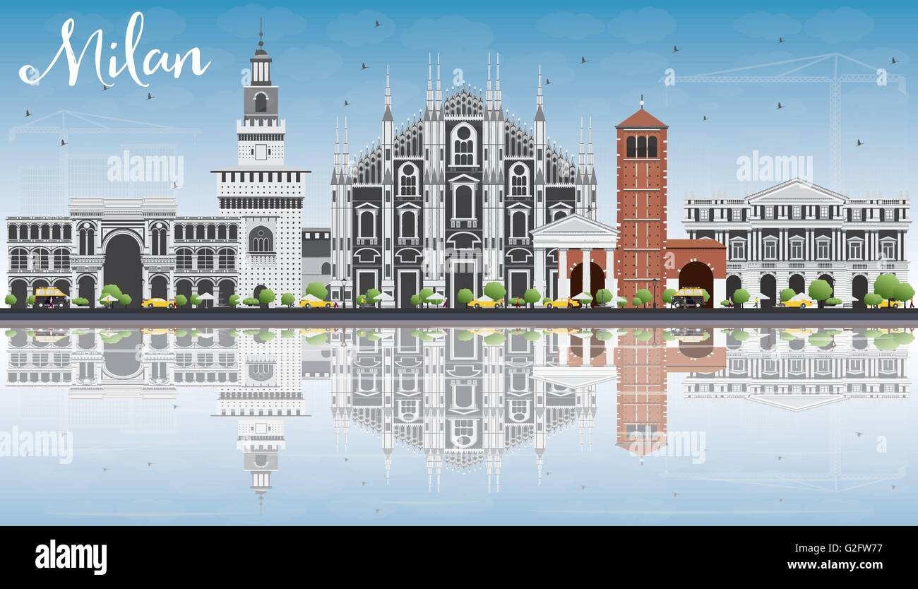 Milan Skyline with Gray Landmarks, Blue Sky and Reflections. Vector Illustration. Business Travel and Tourism Concept - Stock Vector