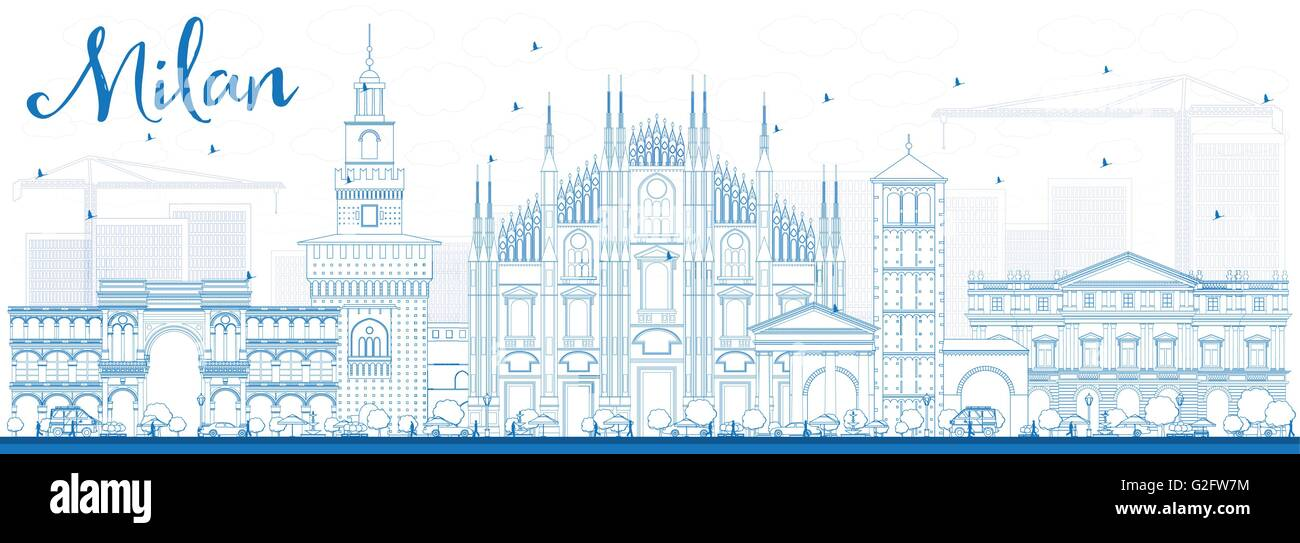 Outline Milan Skyline with Blue Landmarks. Vector Illustration. Business Travel and Tourism Concept with Historic - Stock Vector