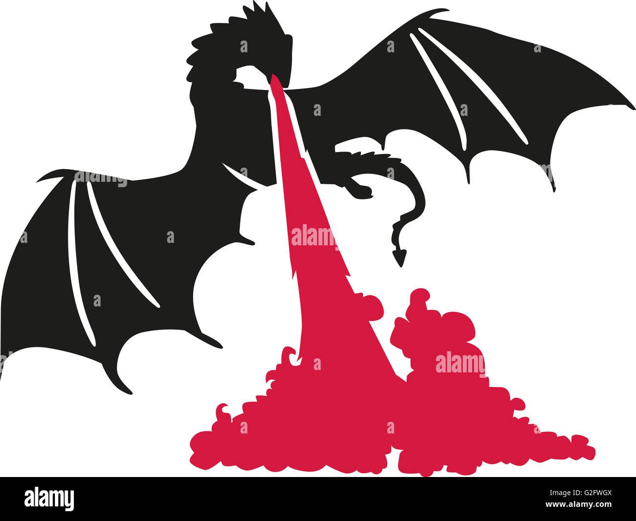 Firespewing dragon - Stock Image