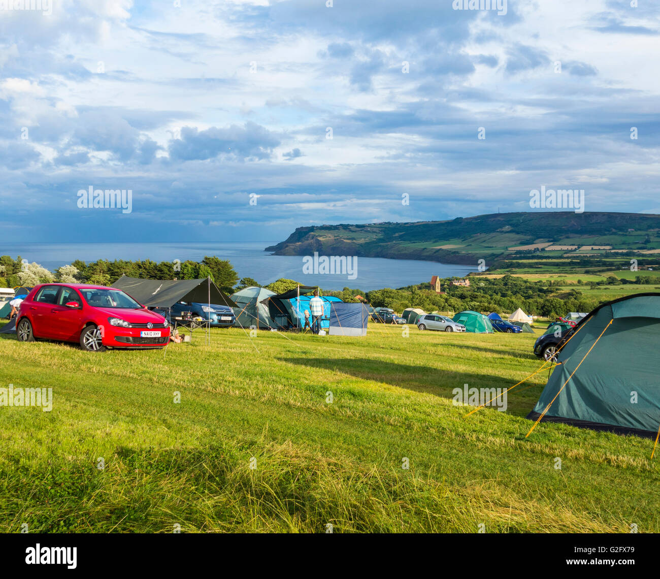 Hooks House Farm campsite overlooking picturesque Robin Hood`s Bay, North Yorkshire, England. UK - Stock Image