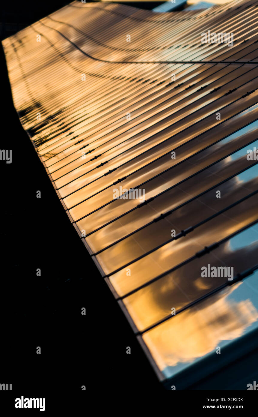 solar panels sky in a cloudy  day for alternative energy,detail - Stock Image
