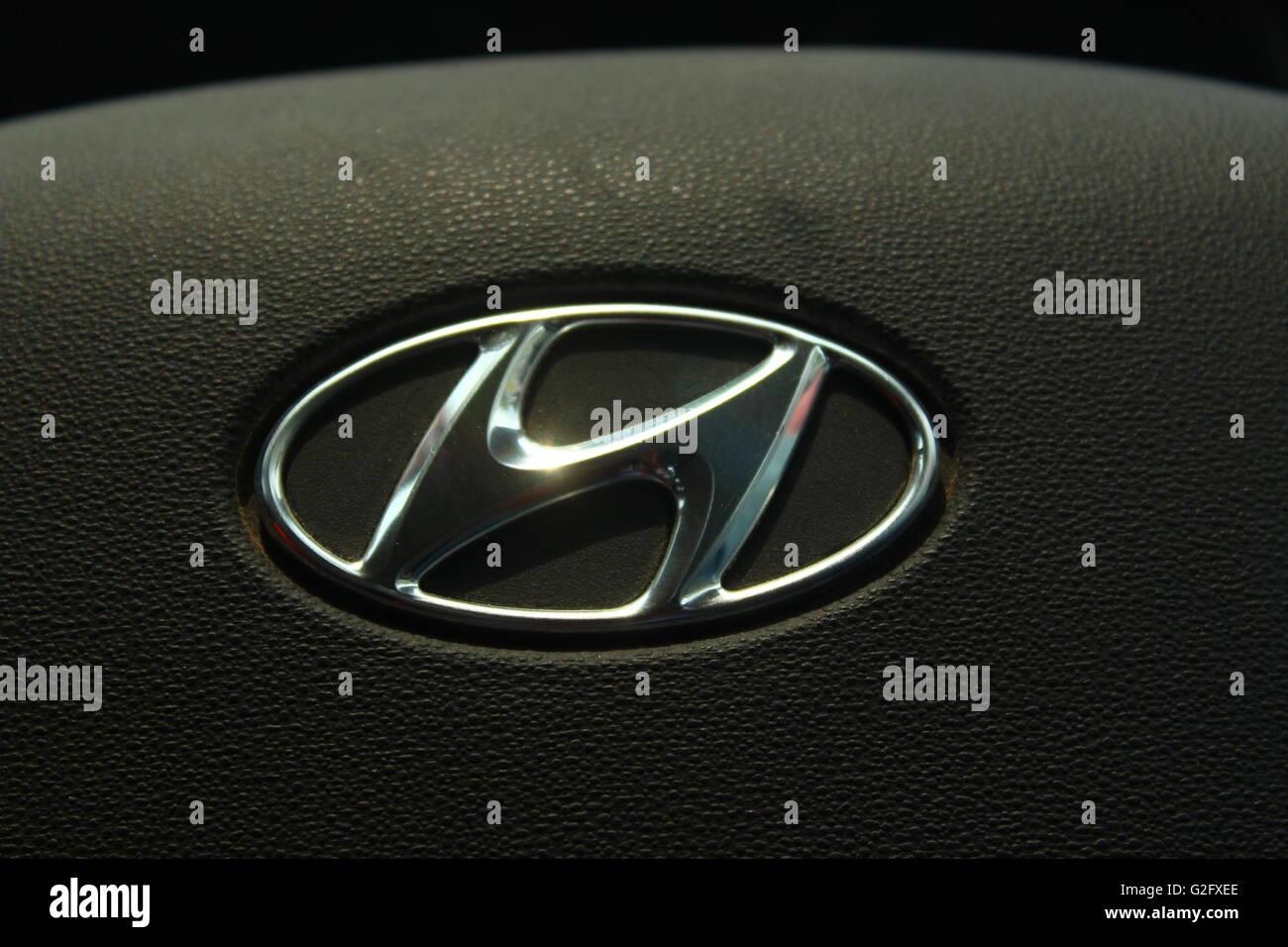 South Korean multinational  automotive manufacturer Hyundai motor company logo - Stock Image
