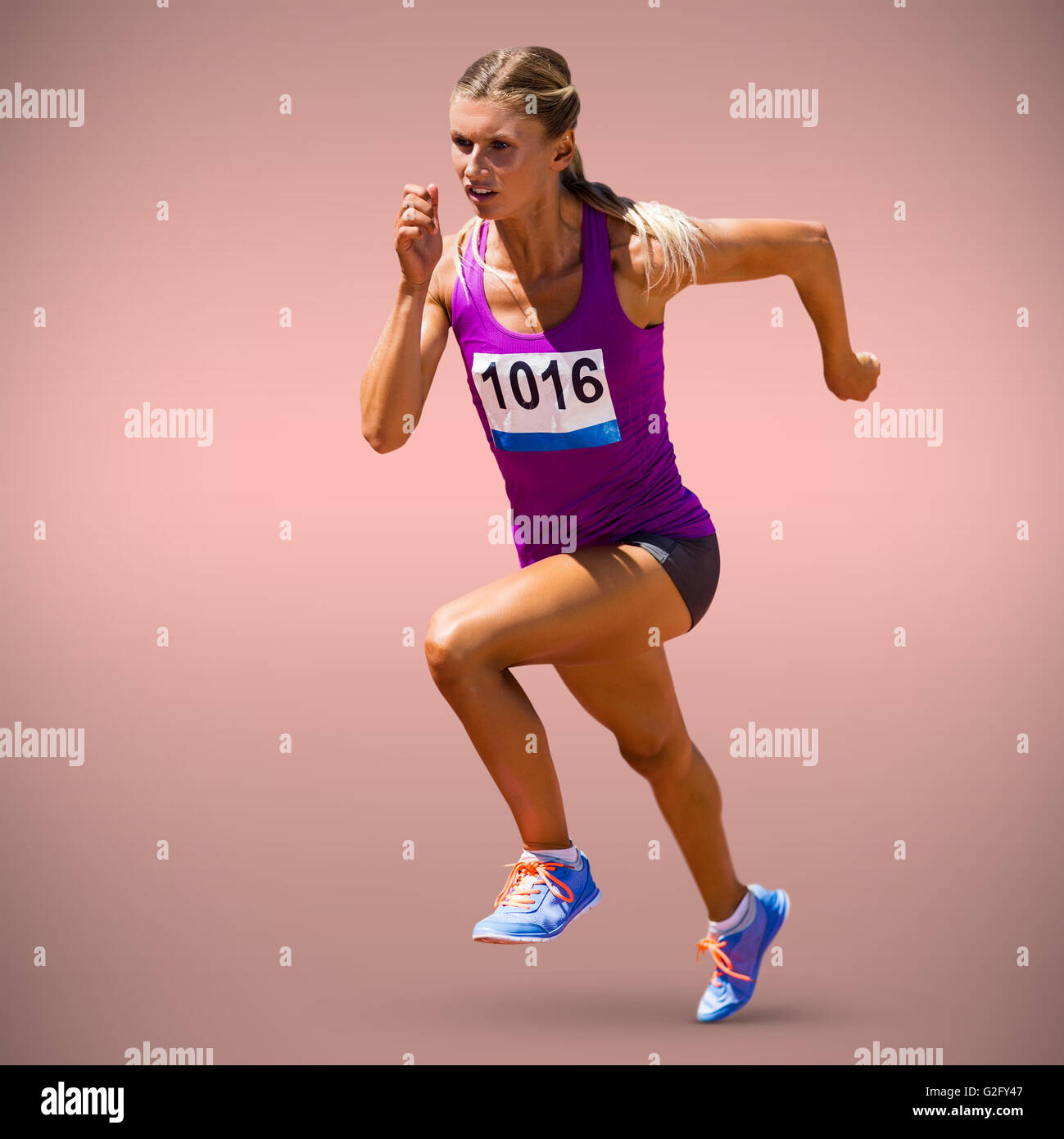 woman in running position stock photos woman in running position