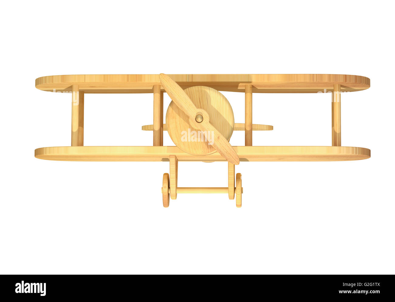 3d rendering of close-up of wooden plane on white background. Isolated - Stock Image