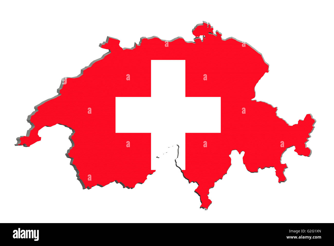 3d rendering of Switzerland map and flag on background. - Stock Image