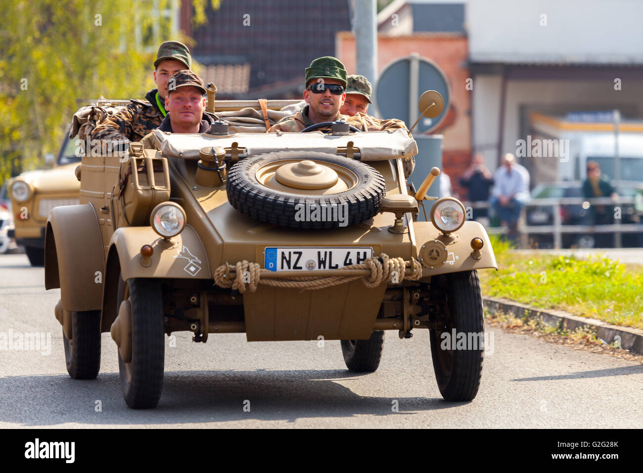 ALTENTREPTOW / GERMANY - MAY 1, 2016: german kubelwagen, vw typ 82 drives on an oldtimer show in altentreptow, germany - Stock Image