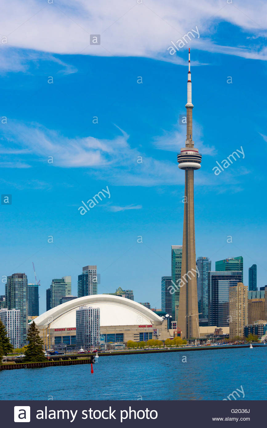 Toronto, Canada, CN Tower and the city skyline as seen from Lake Ontario. Stock Photo