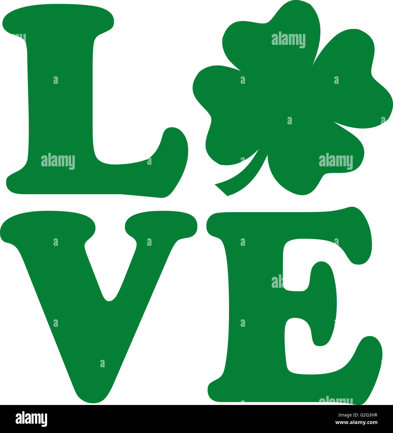 Love Text With Four Leaf Clover Stock Photo 104845603 Alamy
